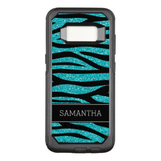 Teal Blue Faux Glitter Zebra Personalized OtterBox Commuter Samsung Galaxy S8 Case