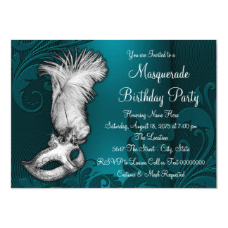 Teal Blue Feather Mask Masquerade Party Card
