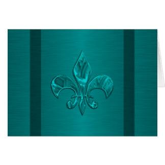Teal Blue Fleur de Lis Card