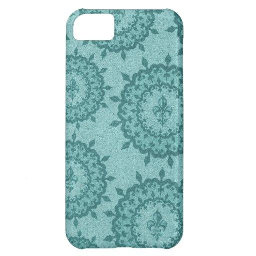 Teal Blue Fleur De Lis Case For iPhone 5C