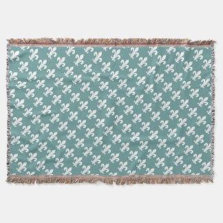 Teal blue fleur de lis pattern throw blanket