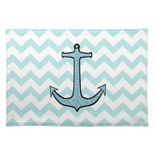 Teal Blue Floral Anchor on Chevron Place Mat