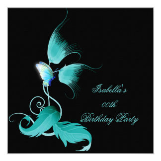Teal Blue Floral Butterfly Black Birthday Party Custom Announcements