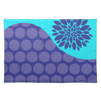 Teal Blue Flower and Purple Polka Dots Pattern Place Mat