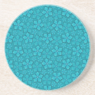 Teal blue flowers coaster