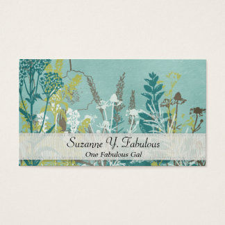 Teal Blue Flowers Stamped Fancy Business Card