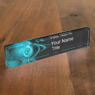TEAL BLUE FRACTAL ROSE IN BLACK,Abstract Swirls Nameplate
