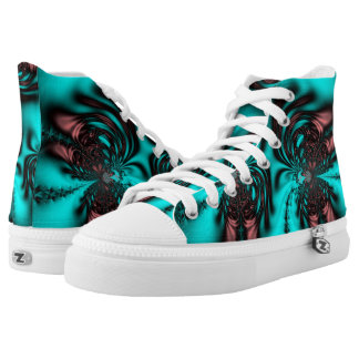 Teal Blue Fractall Printed Shoes