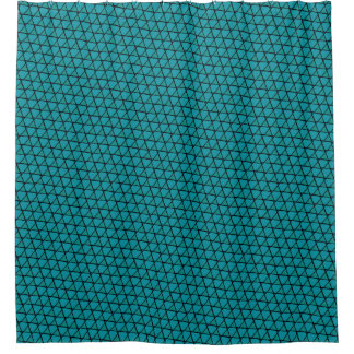 Teal Blue Funky Triangles Shower Curtain