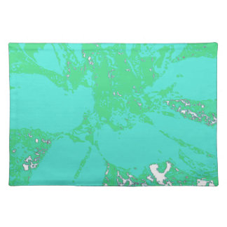 Teal/Blue.Geen Floral Dahlia Flower Pattern Cloth Placemat