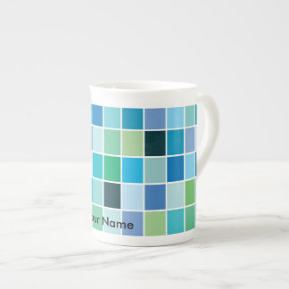 Teal Blue Geometric Pattern Tea Cup