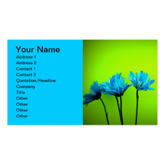 Teal Blue Gerber Daisies Lime Green Business Cards