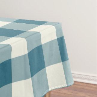 Teal Blue Gingham / Buffalo Check Tablecloth