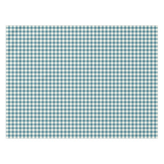 Teal Blue Gingham Cotton Tablecloth