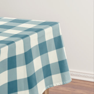 Teal Blue Gingham Pattern Check Tablecloth