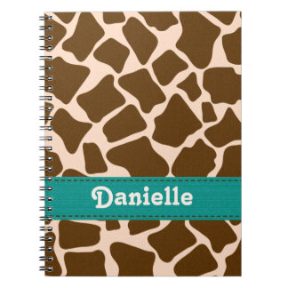 Teal Blue Giraffe Print Spiral Notebook Journal