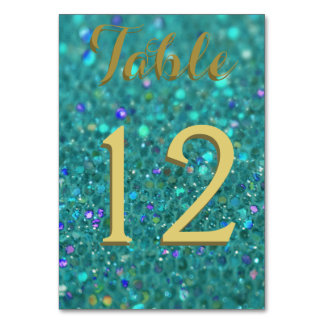Teal Blue Glitter Card