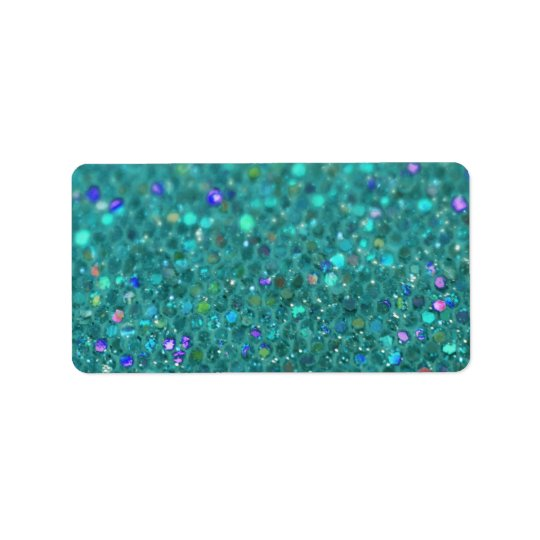 Teal Blue Glitter Label