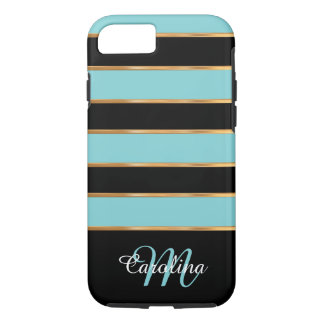 Teal Blue Gold and Black,  Name and Monogram iPhone 7 Case