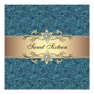 Teal Blue Gold Classy Jewel Sweet Sixteen Party Card
