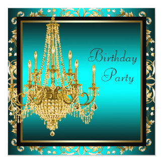 "Teal Blue Gold Damask Chandelier Birthday Party 5.25"" Square Invitation Card"