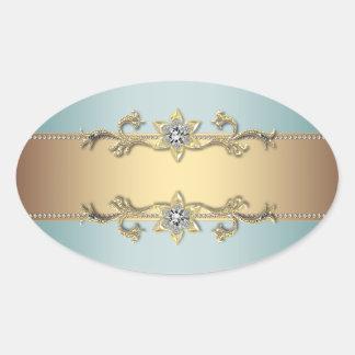 Teal Blue Gold Jewel Elegant Envelope Seal Oval Sticker