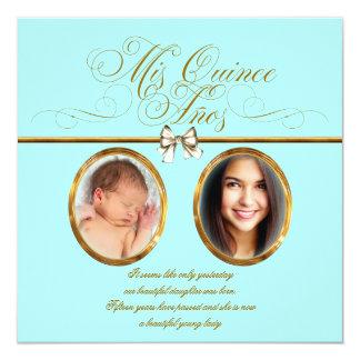"Teal Blue Gold Photo Quinceanera Invitations 5.25"" Square Invitation Card"