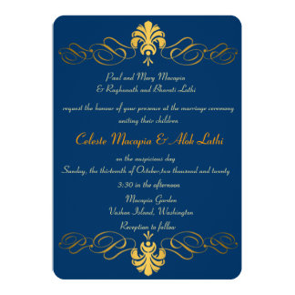 Teal Blue Gold Retro Ornate Indian Wedding Invites Personalized Announcement