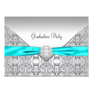 Teal Blue Graduation Party Card