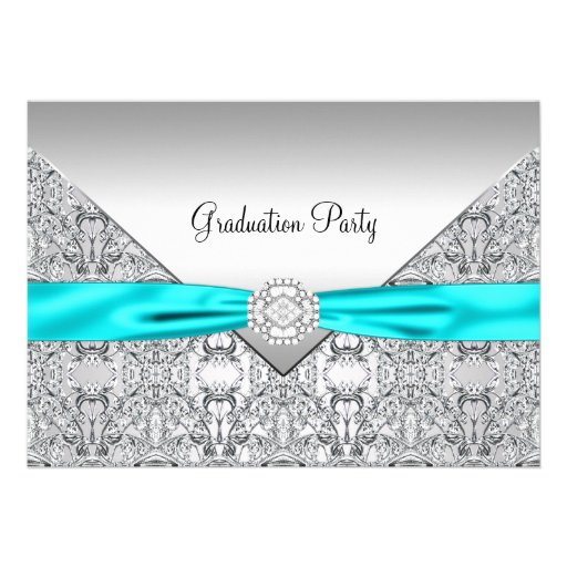 Teal Blue Graduation Party Custom Invitations