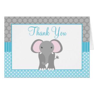 Teal Blue Gray Elephant Polka Dot Thank You Card