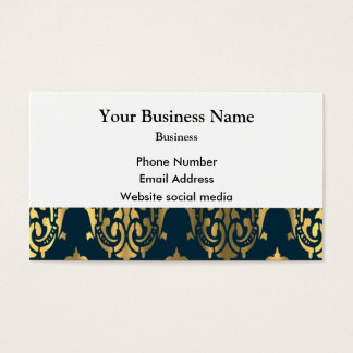 Teal blue green and gold damask business card