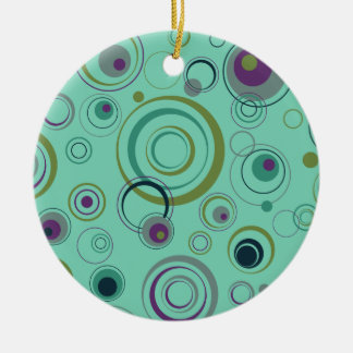 Teal, Blue, Green and Purple Playful Retro Circles Round Ceramic Decoration