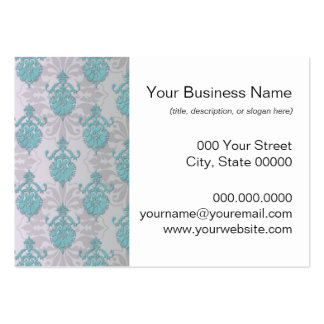 Teal Blue Green and Silvery White Damask Business Card Templates