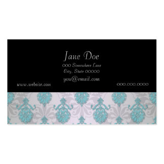 Teal Blue Green and Silvery White Damask Business Cards