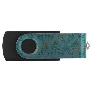Teal Blue Green Damask Flash Drive Swivel USB 2.0 Flash Drive