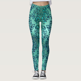 Teal Blue Green Damask Print Leggings