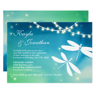 Teal Blue & Green Dragonfly Wedding Invitations