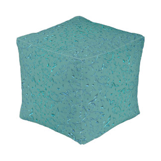 Teal Blue Green Floral Music Notes Pouf