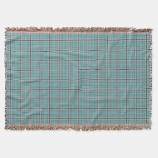 Teal Blue Green Grey Black Tartan Plaid Throw Blanket