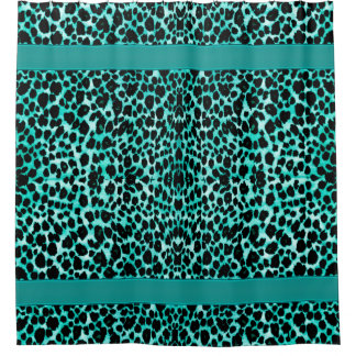 Teal Blue Green Leopard Animal Print Shower Curtain