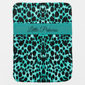 Teal Blue Green Leopard Personalized Blanket