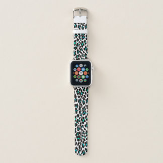 Teal Blue Green Leopard Print Apple Watch Band