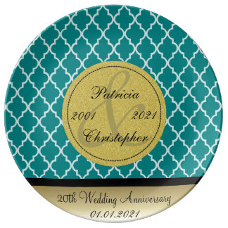 Teal Blue Green Moroccan 20th Wedding Anniversary Porcelain Plate