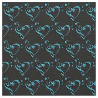 Teal Blue Green on Black Music Clef Heart Fabric