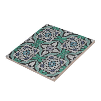 Teal Blue Green Turquoise Hip Ornate Art Motif Tile