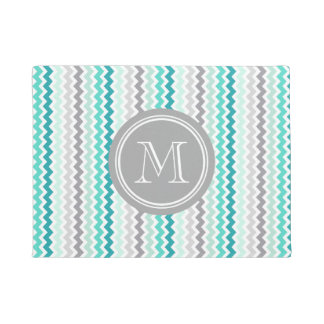Teal Blue Grey Chevron Grey Monogram Doormat