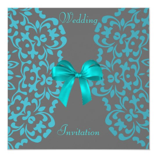 Teal Blue Grey Pretty Lace Wedding Invitations