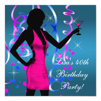 "Teal Blue Hot Pink 40th Birthday Party 5.25"" Square Invitation Card"