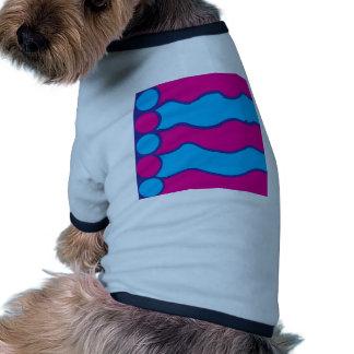 Teal Blue Hot Pink Color Waves Pattern Doggie T Shirt